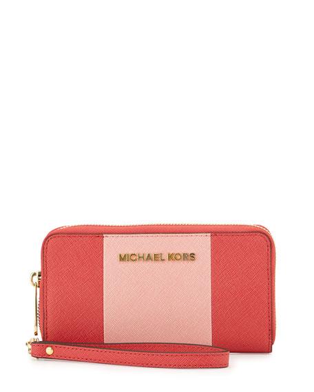 a746dcfa902d MICHAEL Michael Kors Jet Set Large Travel Center-Stripe Wristlet Wallet,  Watermelon/Pink