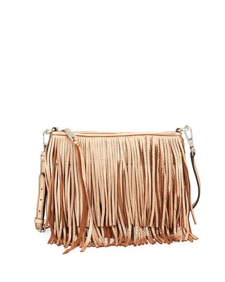 Finn Metallic Fringe Crossbody Bag Rose Gold