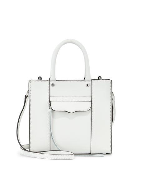 Mini Mab Saffiano Tote Bag White