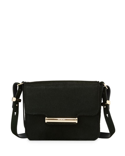 Diane Mini Calf-Hair Crossbody Saddle Bag, Emerald