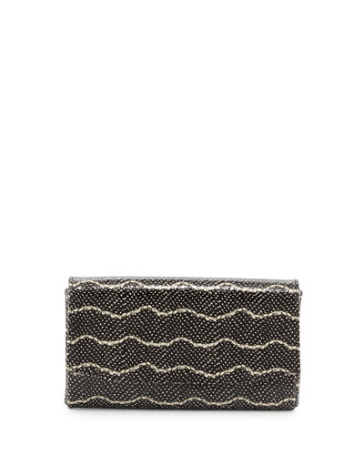 June Snake-Embossed Leather Clutch Bag, Black/Cream