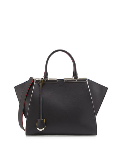 Trois-Jour Medium Leather Tote Bag, Black Multi