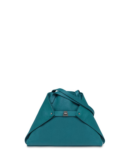 Akris Ai Small Cervo Leather Shoulder Tote Bag, Deep Petrol 28c5ff307f