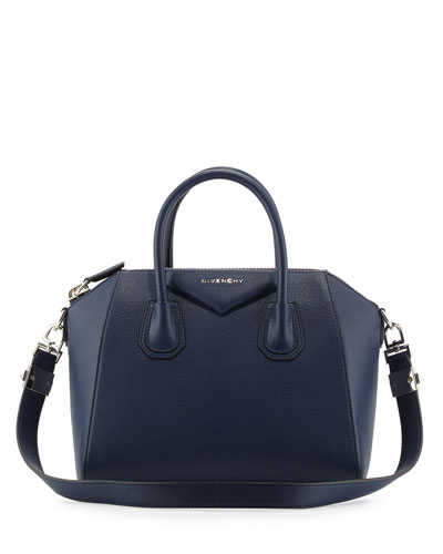 Antigona Small Goatskin Satchel Bag, Deep Blue
