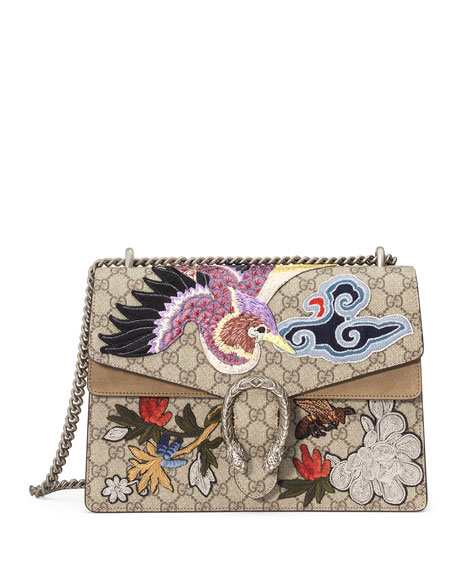 c8cebb19fe454d Gucci Dionysus Medium Bird Embroidered Shoulder Bag, Multi Current Obsession:  Gucci Padlock Printed Shoulder Bag - PurseBlog