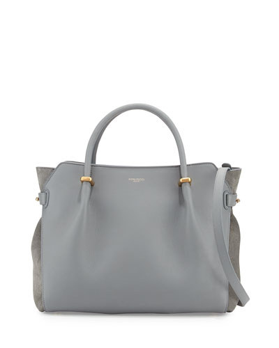 Marche Leather Medium Tote Bag, Gray