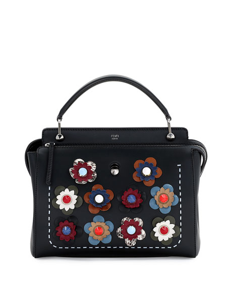 2128a84ef19c4 Fendi .COM Medium Floral Leather Satchel Bag