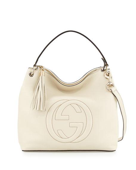 c35eee7cb3123a Gucci Soho Large Leather Hobo Bag, Mystic White