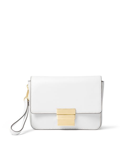 e87f0b007 MICHAEL Michael Kors Madelyn Small Leather Clutch Bag, Optic White
