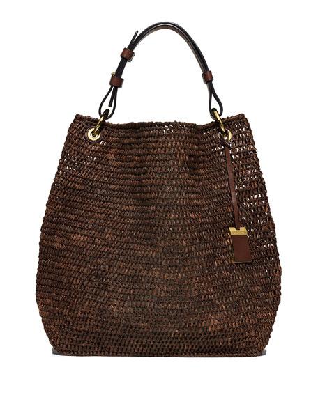 8f32f4291579ab Michael Kors Santorini Large Raffia Shoulder Bag, Nutmeg
