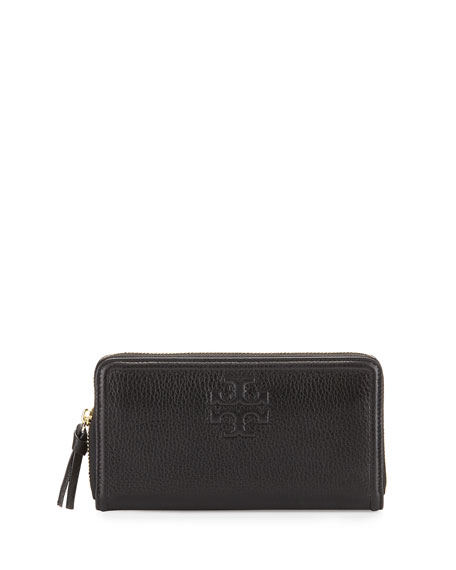aa35f66e99 Tory Burch Thea Leather Multi-Gusset Zip Wallet, Black