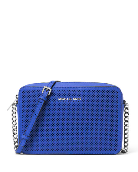 9489f4b9b968 MICHAEL Michael Kors Jet Set Travel Large Perforated Crossbody Bag, Electric  Blue