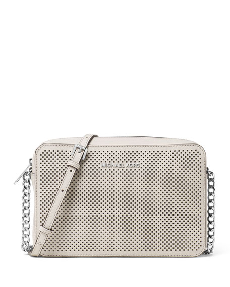 354f60d65de3 MICHAEL Michael Kors Jet Set Travel Large Perforated Crossbody Bag, Cement