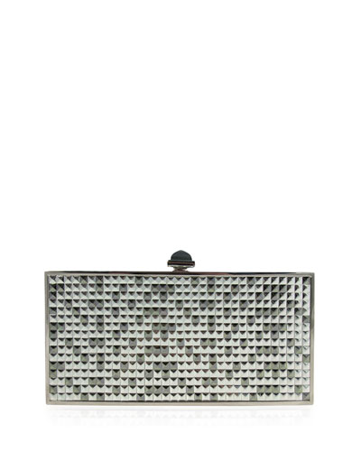 Perfect Rectangle Studded Evening Clutch Bag, Silver