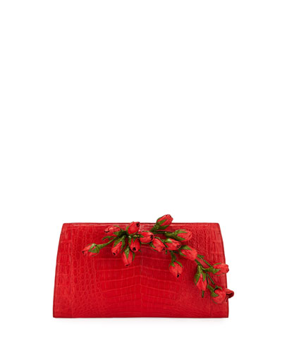 Rose Bud Slicer Crocodile Clutch Bag