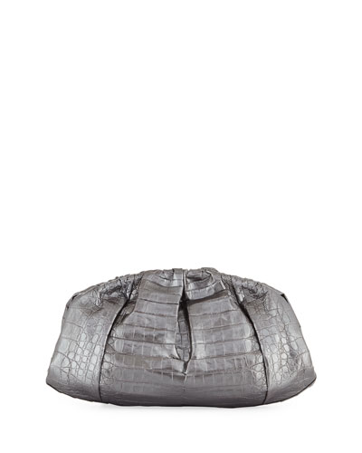 Ruched Metallic Crocodile Clutch Bag