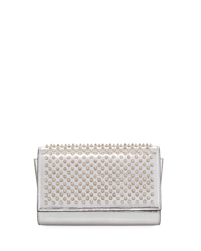 Paloma Dinospikes Metallic Lizard-Embossed Clutch Bag