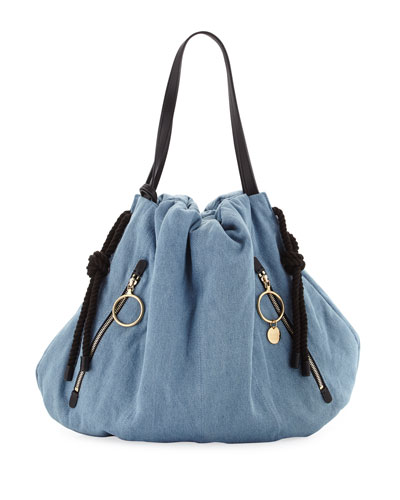 Extra Large Denim Drawstring Hobo Bag