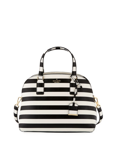 lottie striped top handle bag, black cream
