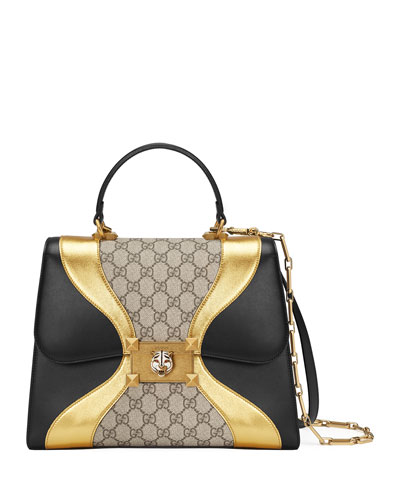 Iside Medium GG Supreme & Leather Top-Handle Bag