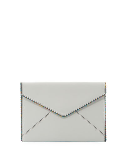 Leo Saffiano Leather Envelope Clutch Bag