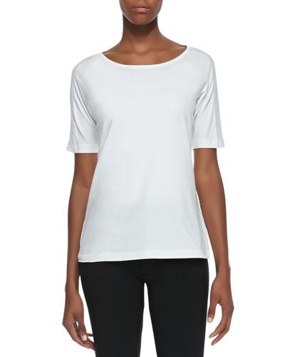 Half-Sleeve Jersey Tee, White