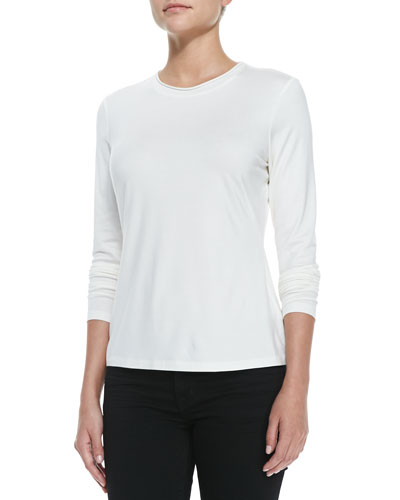 Rolled Neck Jersey Tee, Cloud