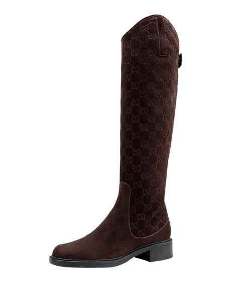 56fa2449a Gucci Maud Suede Guccissima Riding Boot, Dark Brown