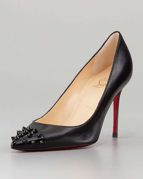 outlet store cb710 dd47e Geo Spike Point-Toe Red Sole Pump Black