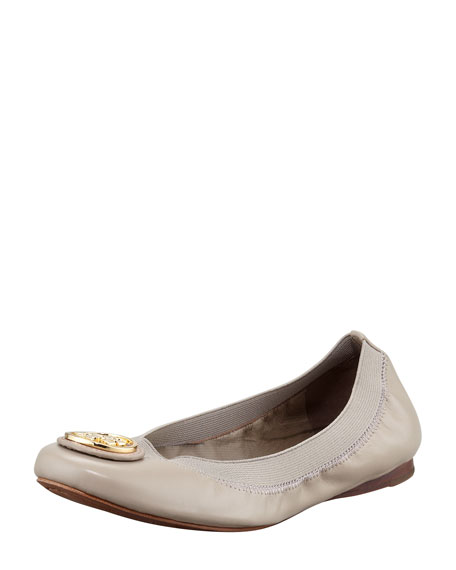 Caroline 2 Leather Stretch Ballerina Flats, Dust Storm