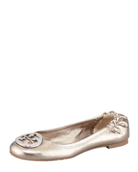 1d39ef36b2af18 Tory Burch Reva Metallic Leather Ballerina Flat