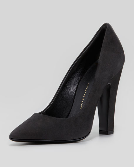 92eb5b87124 Giuseppe Zanotti Suede Pointed-Toe Thick-Heel Pump
