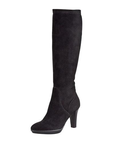 Rhumba Stretch Suede Tall Boot, Black