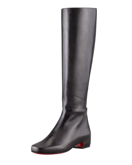 competitive price ca09b 860af Tounoir Flat Red Sole Knee Boot Black