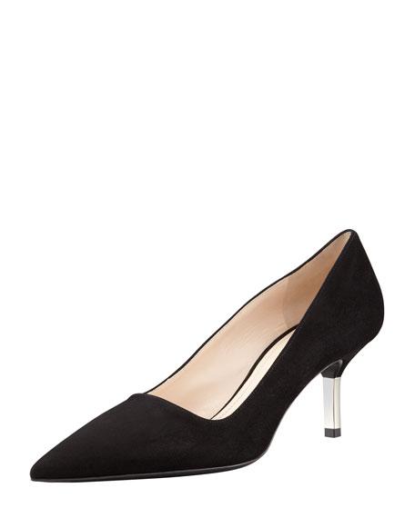 443da4488 Prada Low-Heel Suede Pointed-Toe Pump, Black