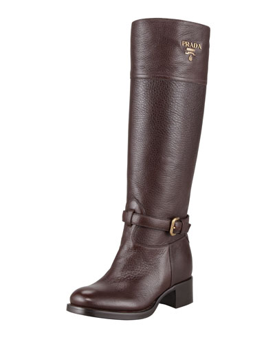 Tall Logo Riding Boot, Brown