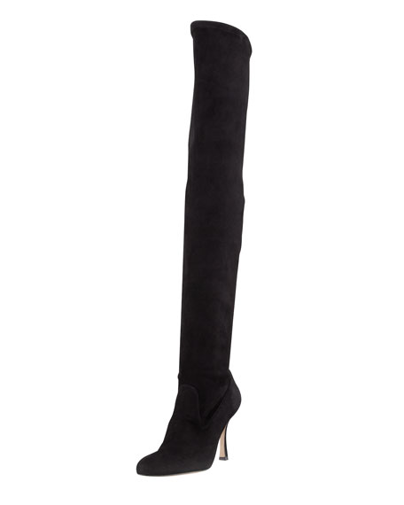 Manolo Blahnik Suede Over-The-Knee Boots tumblr cheap price cheap fast delivery dfB8Sh