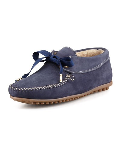 Daphne Lace-Up Moccasin Bootie, Blue