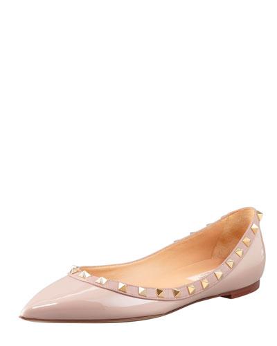 Rockstud Patent Ballerina Flat, Nude
