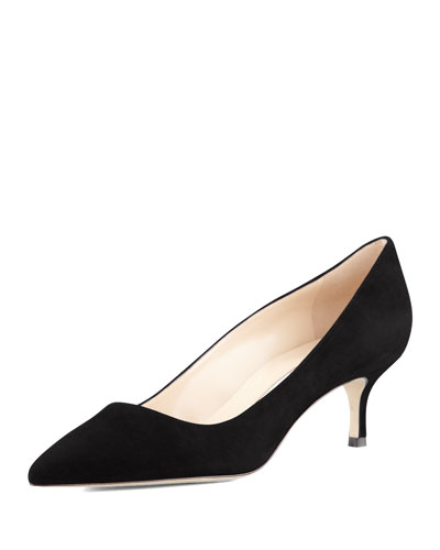 BB Suede 50mm Pump, Black (Made to Order)