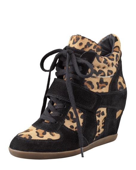 2774ecf7d3b8 Ash Bonno Leopard-Print Calf Hair Wedge Sneaker