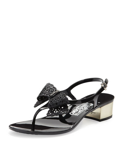 Perla Jelly Thong Sandal with Lace Bow, Nero
