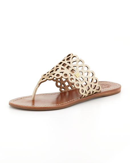 Tory Burch Laser Cut T-Strap Sandals