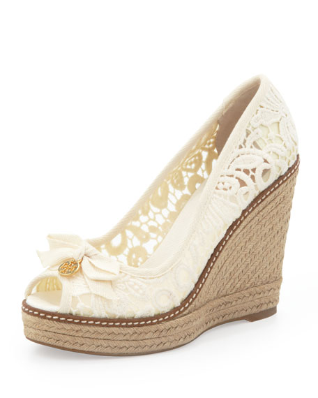 24a10f73f76 Jackie Lace Espadrille Wedge White