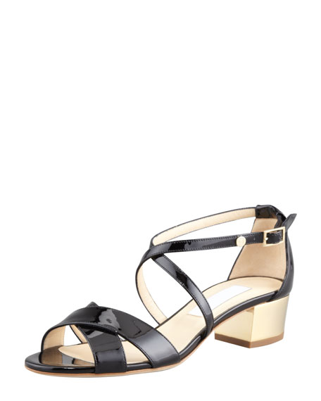 97cf0111d23 Jimmy Choo Merit Patent Leather Low-Heel Sandal