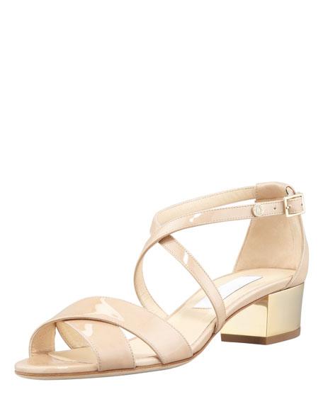 17daf15e1424 Jimmy Choo Merit Patent Leather Low-Heel Sandal
