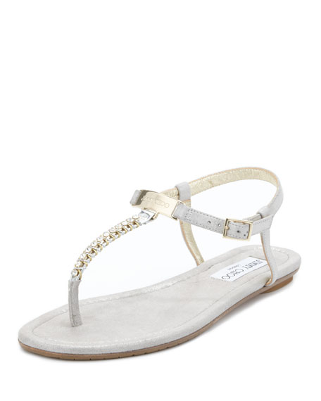 b9014f496cd8 Jimmy Choo Nox Flat Crystal Thong Sandal