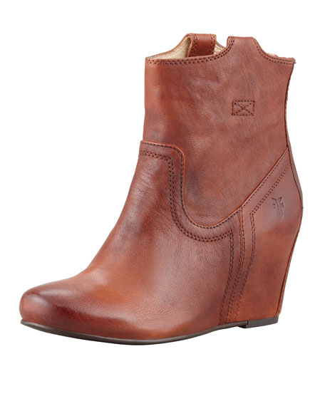 4310e50eeef Frye Carson Leather Wedge Bootie
