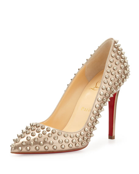 new style dbfb4 a8481 Pigalle Spikes Red Sole Pump Beige/Gold