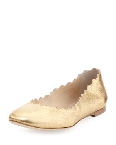 Scalloped Metallic Leather Ballerina Flat, Gold
